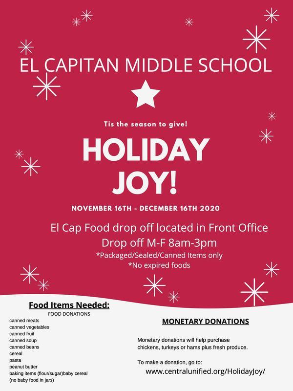 Holiday Joy Food Drive-Drop donations off at El Capitan