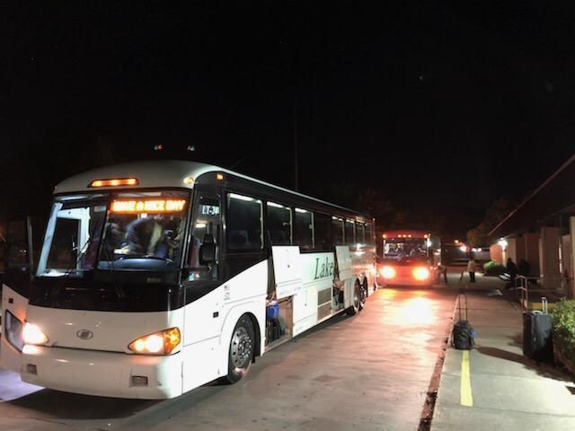 a photo of the chartered bus loaded with Baker High band students headed to a music competition in Florida