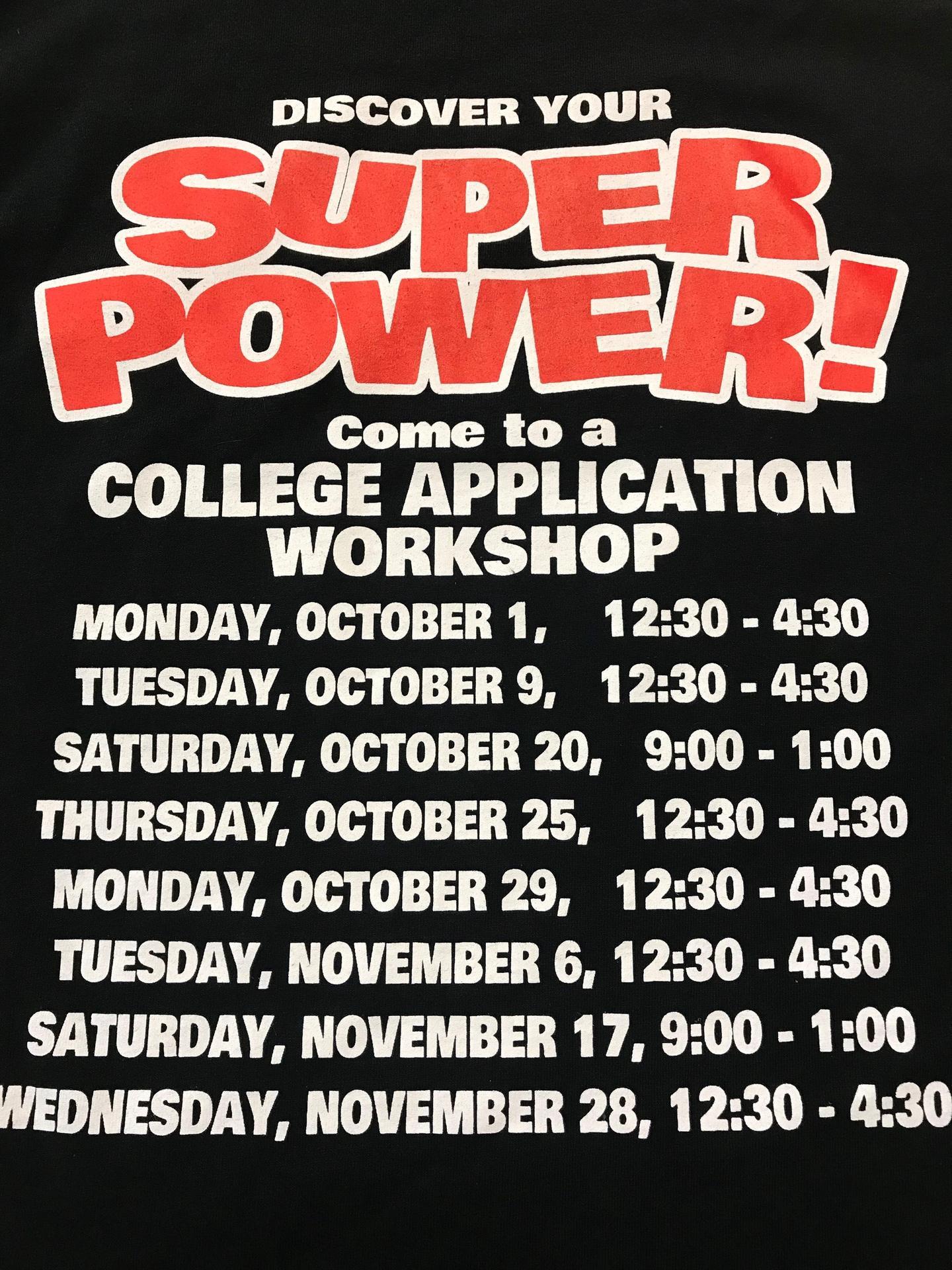 College workshop dates