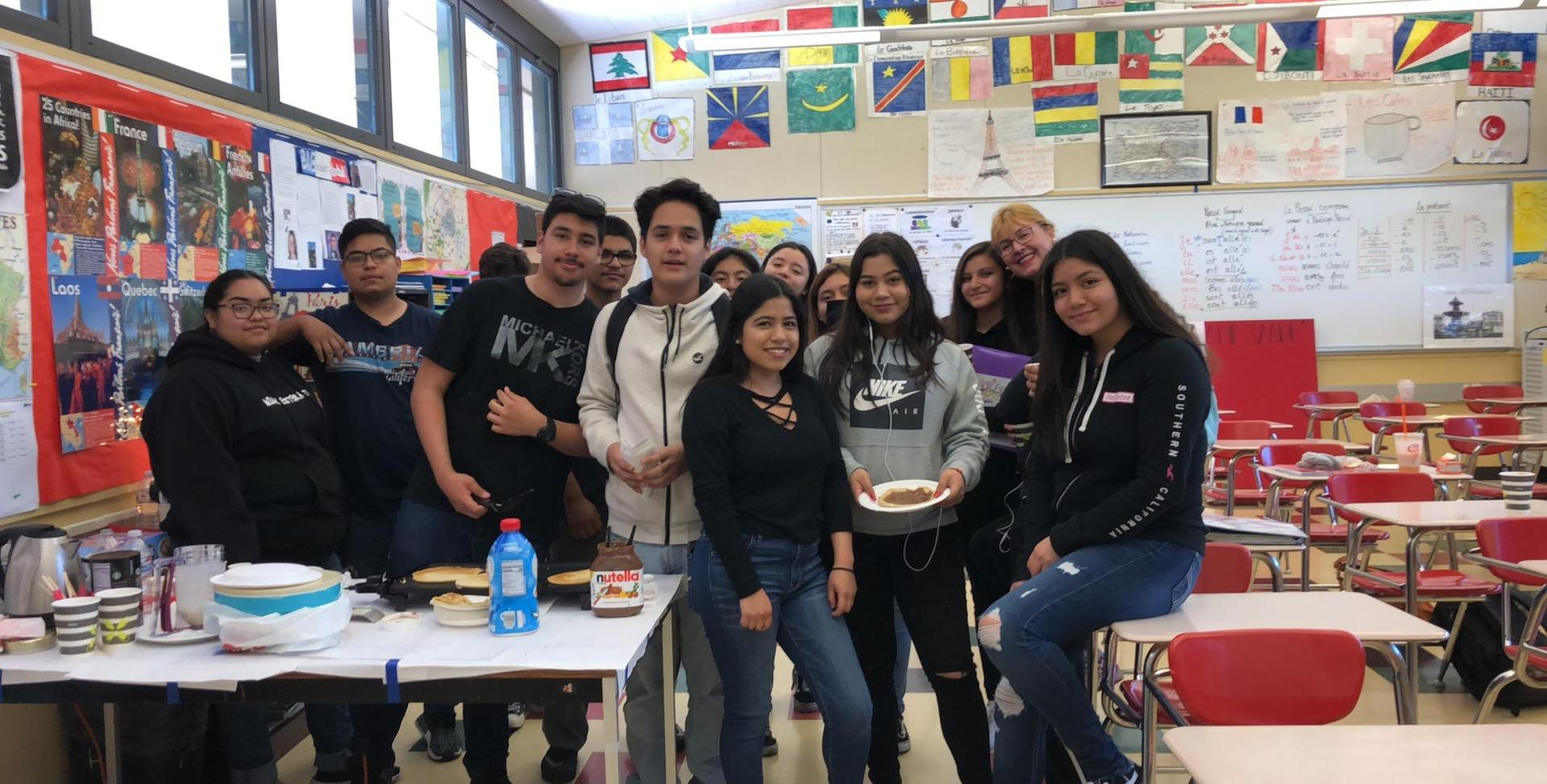 Image of Mme Saade and the French students going to France in April 2019