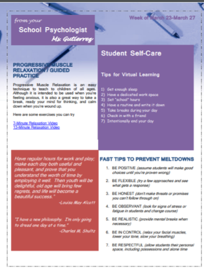 Week 1 Psychologist Newsletter Page 2