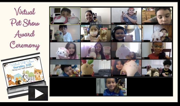 Zoom class showing stuffed animals