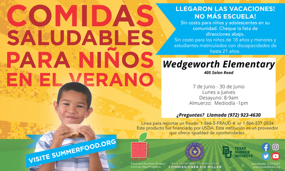 graphic describes free meals from june 7-30 from 8-9 and 12-1 at wedgeworth elementary in spanish