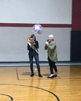 Mrs. Duncan announcing Sarah as the Teacher of the Year