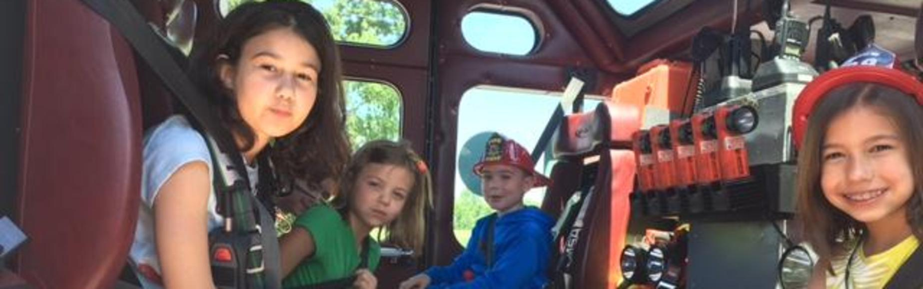 Students in firetruck picture