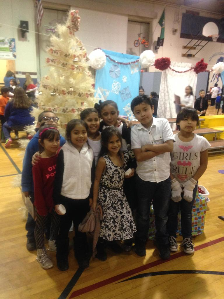 Students at Gingerbread House event