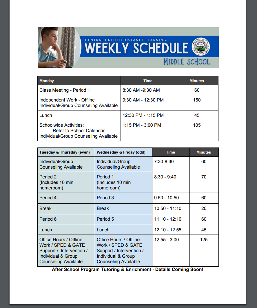 Bell Schedule for Distance Learning