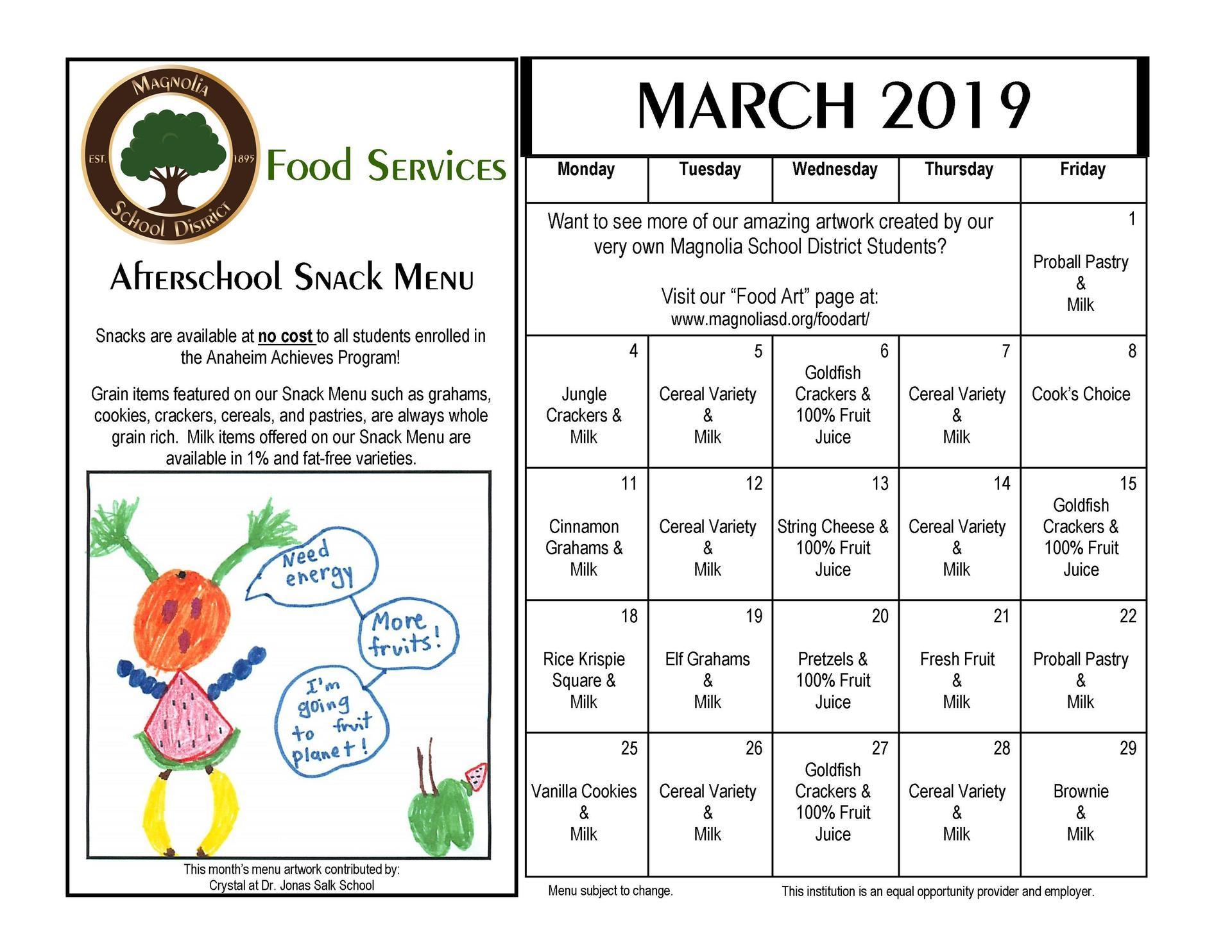 March Snack Menu