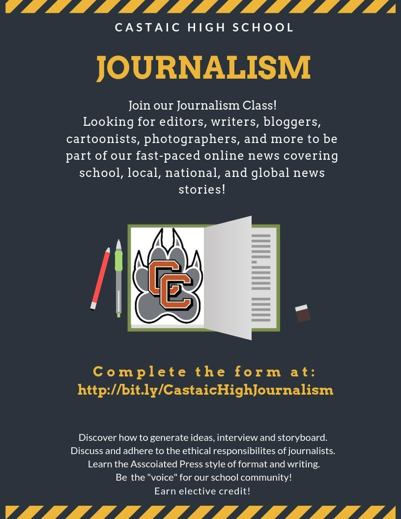 journalism poster with book/paw/pens