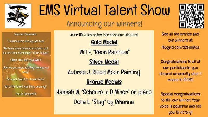 evans middle school students virtual talent show