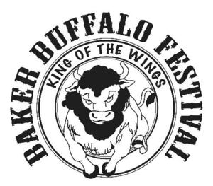 Graphic that says Baker Buffalo Festival with a big buffalo in the center
