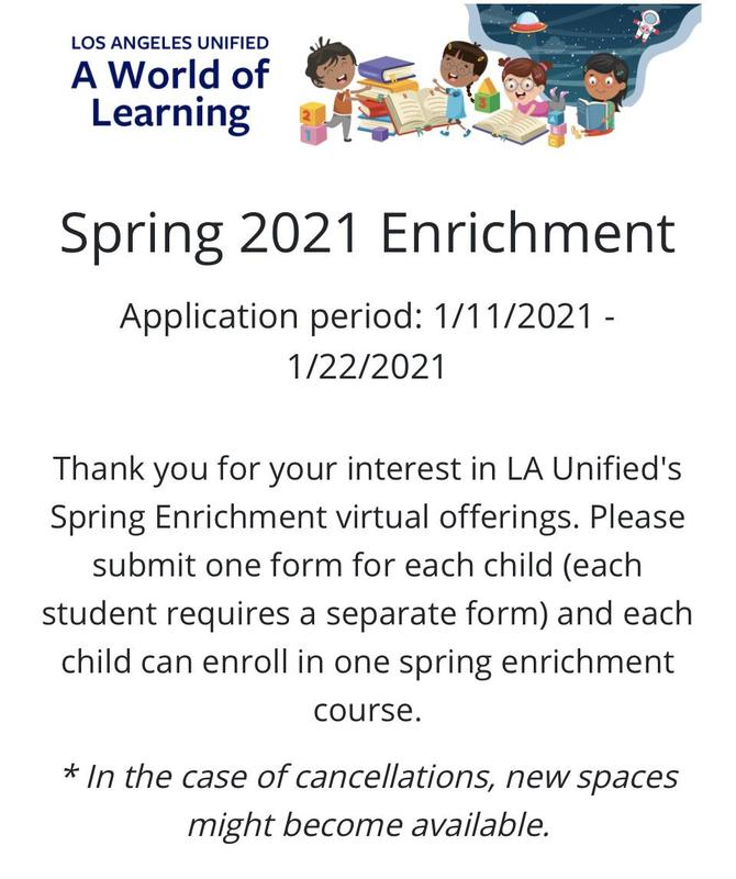 LAUSD A World of Learning (Spring 2021 Enrichment application period 1/11-22 2021) Featured Photo