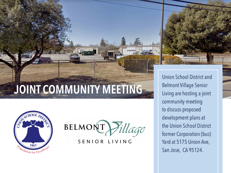 Union School District and Belmont Village Senior Living Joint Meeting Flyer