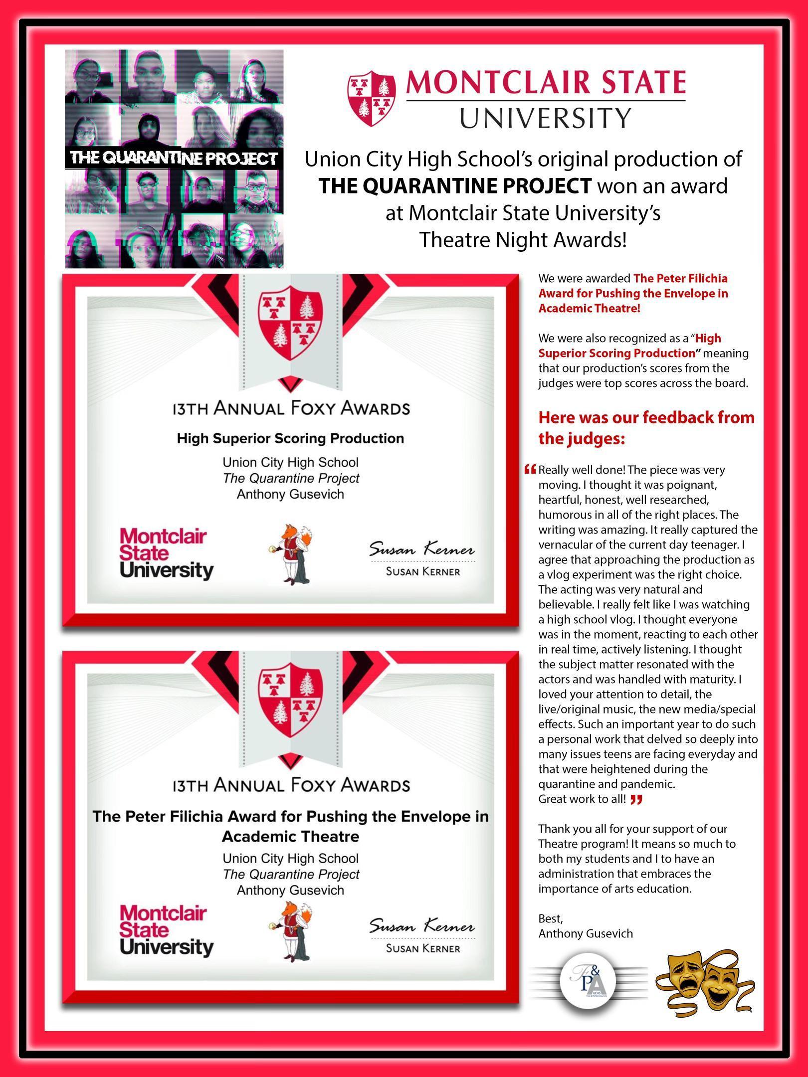 THE QUARANTINE PROJECT award information