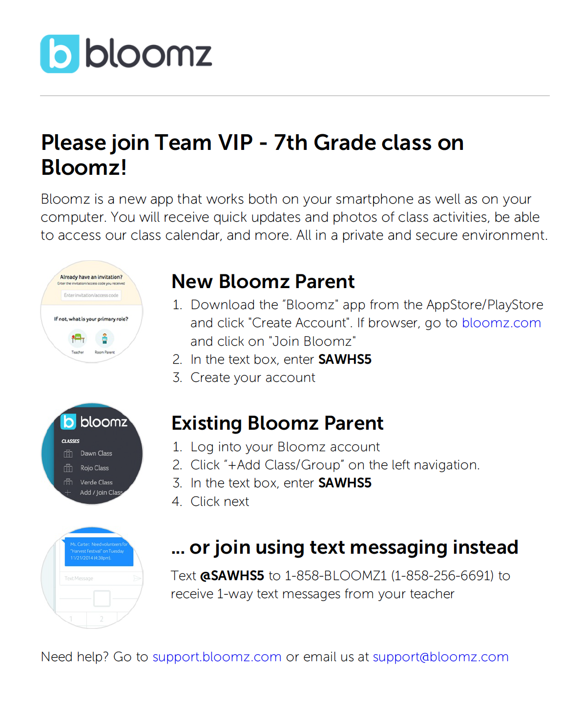 Sign Up for Bloomz for Teacher Communication