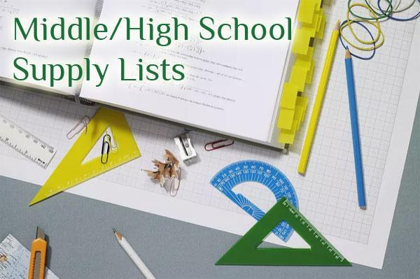 Middle / High School Supply Lists Featured Photo