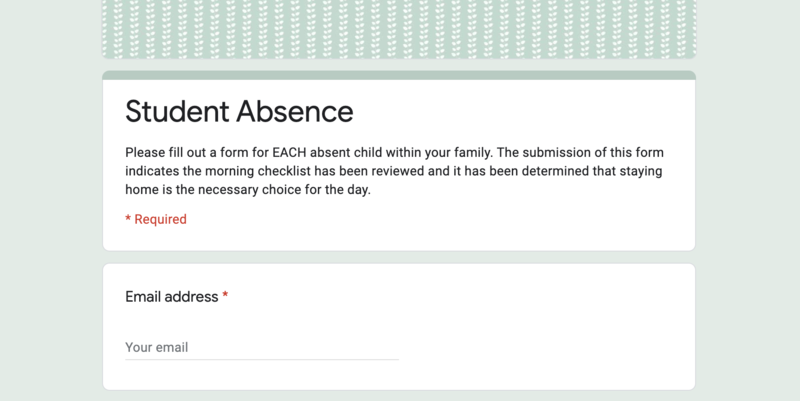 Student Absence Form Screenshot