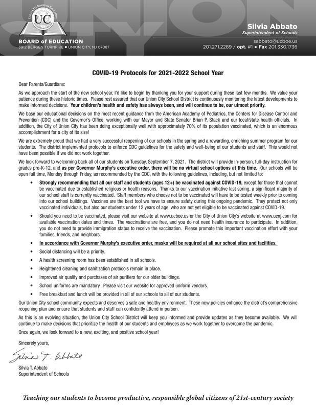 COVID Protocols letter to parents