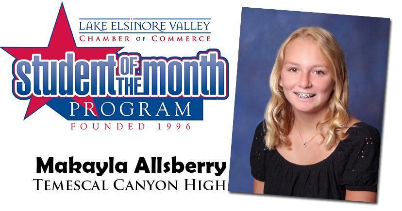 Makayla Allsberry, TCH Student of the Month, November 10, 2020.
