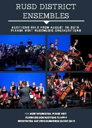 Students - Online Audition Submissions THIS WEEK for RUSD District Music Ensembles Thumbnail Image