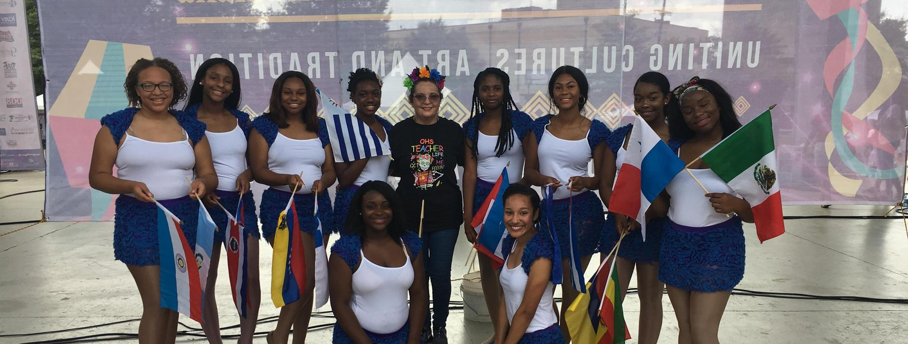 Opelousas High School Spanish Club students dance in the Latin Music Festival, October 6th, 2018, in Lafayette, LA