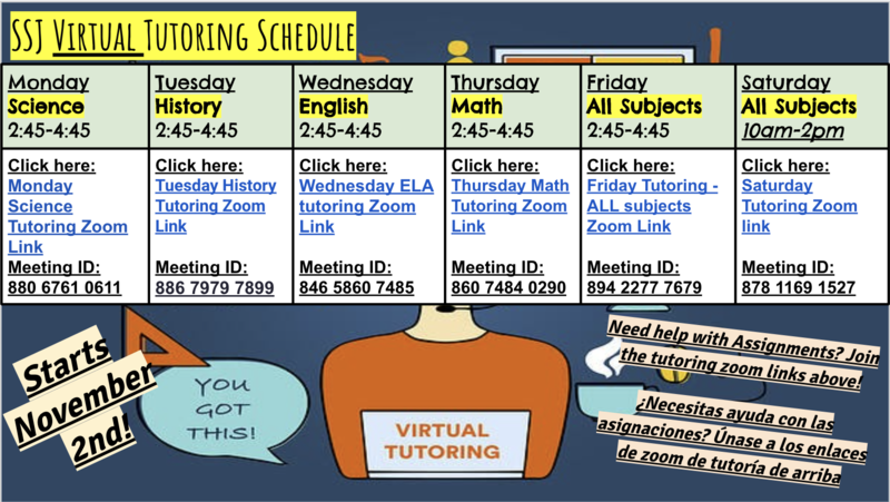SSJ Virtual Tutoring Monday through Saturday! Thumbnail Image