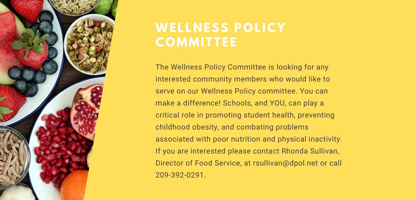 Healthy foods, yellow section. Wellness Committee seeks members.