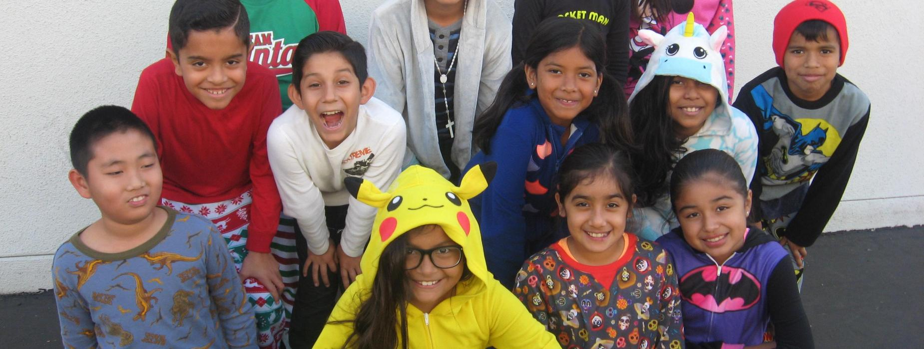 picture of students dressed in pajamas for spirit day
