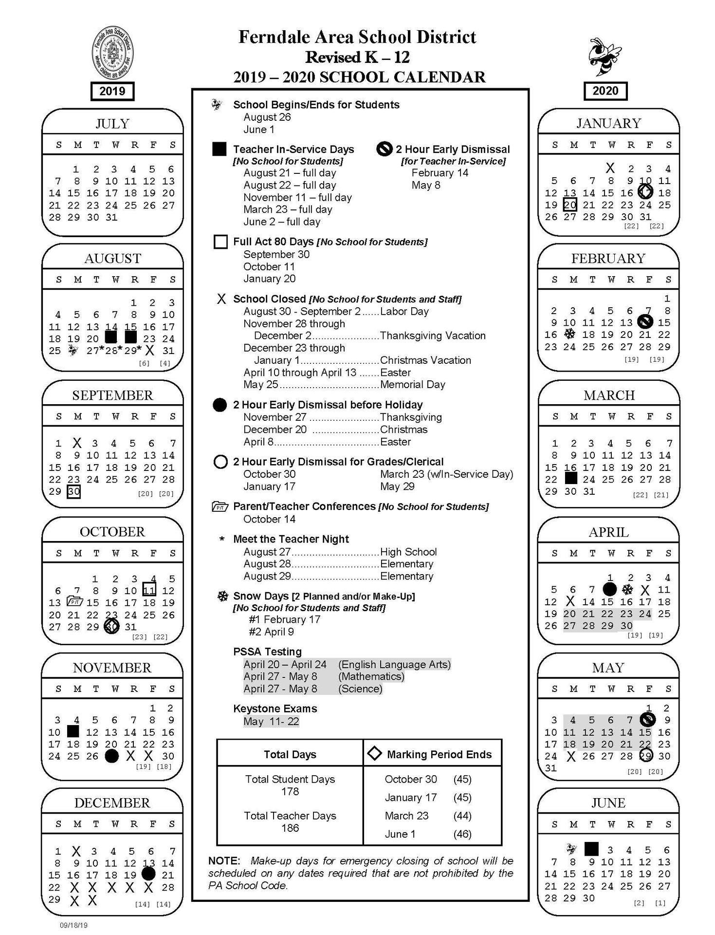 2019 - 2020 Revised K-12 School Calendar