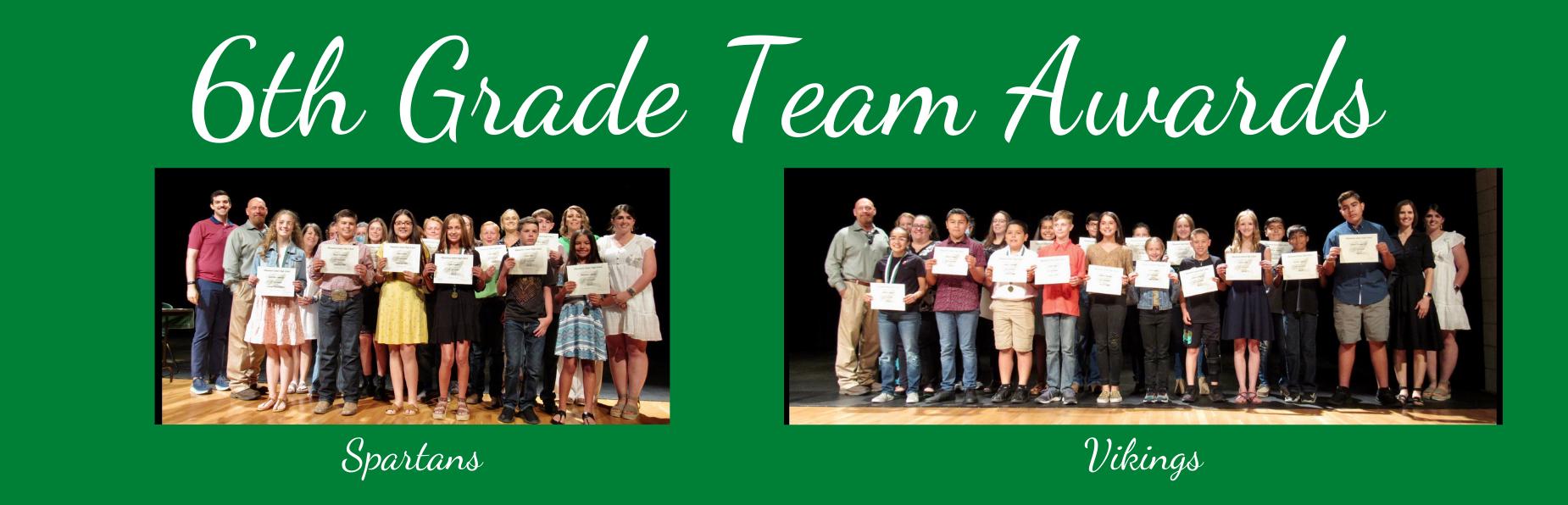 6th grade Team Awards