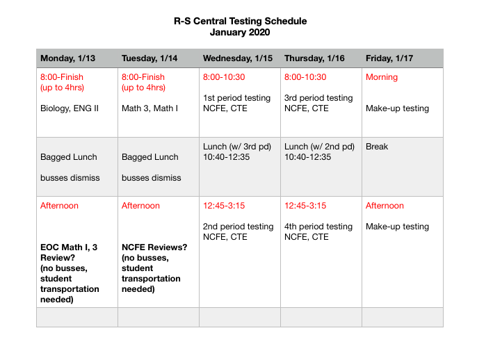Fall 2019 Testing Schedule Featured Photo