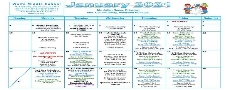 Wolfe Middle School January Calendar