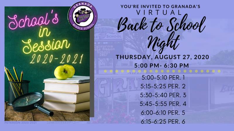 Back to School Night on August 27th at 5:00 pm