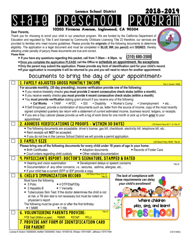 lennox state preschool enrollment application