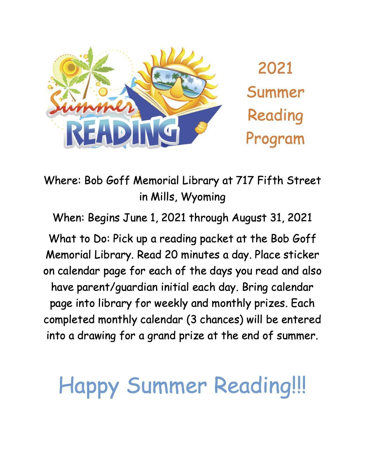 Bob Goff Memorial Library Summer Reading program flyer