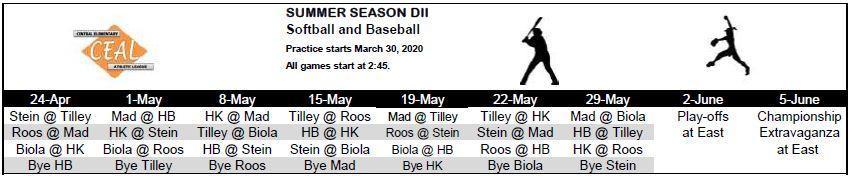 2019-2020 Softball & Baseball Schedule