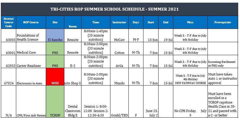 ROP Summer Schedule