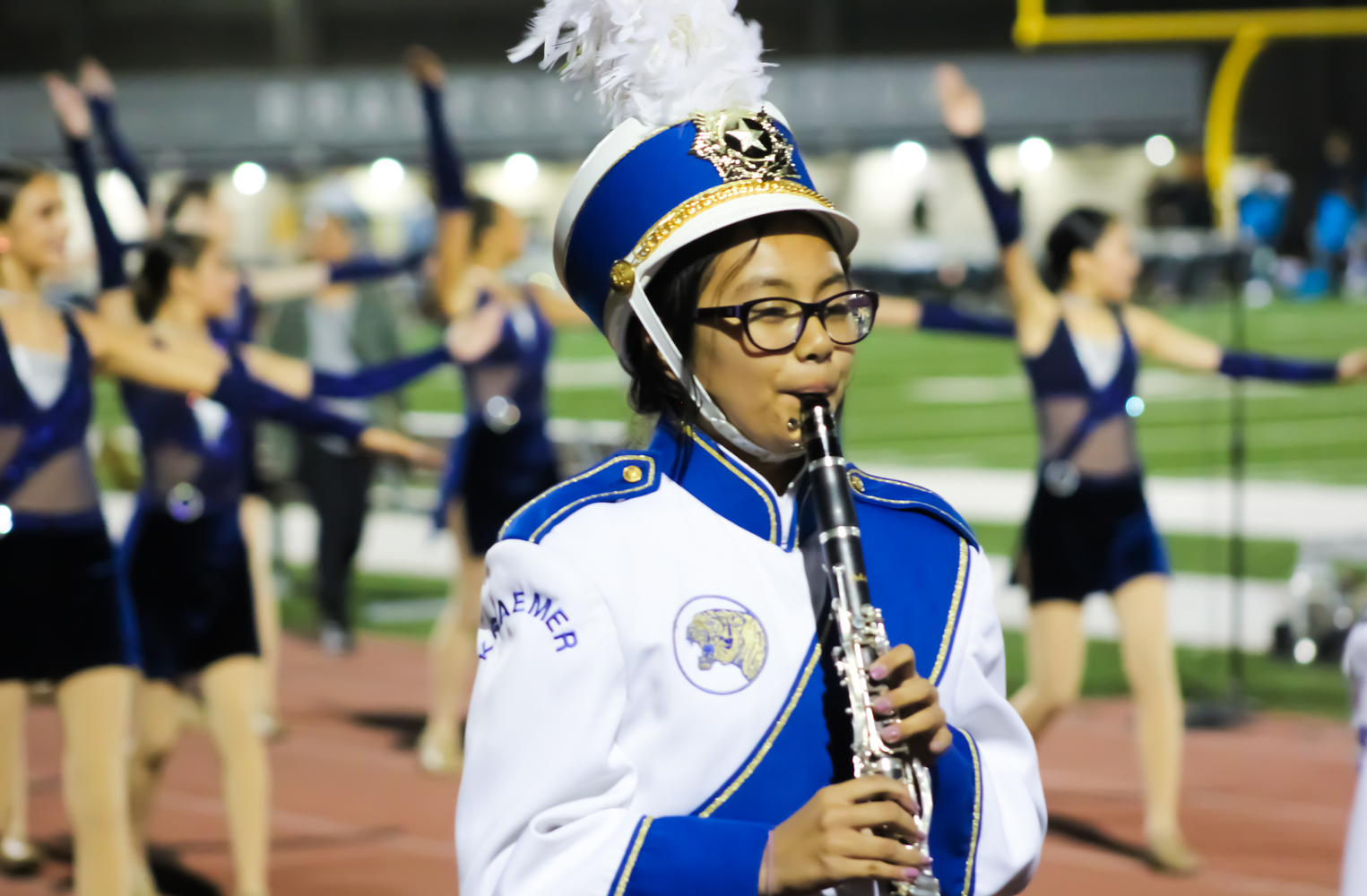 A student playing the clarinet.