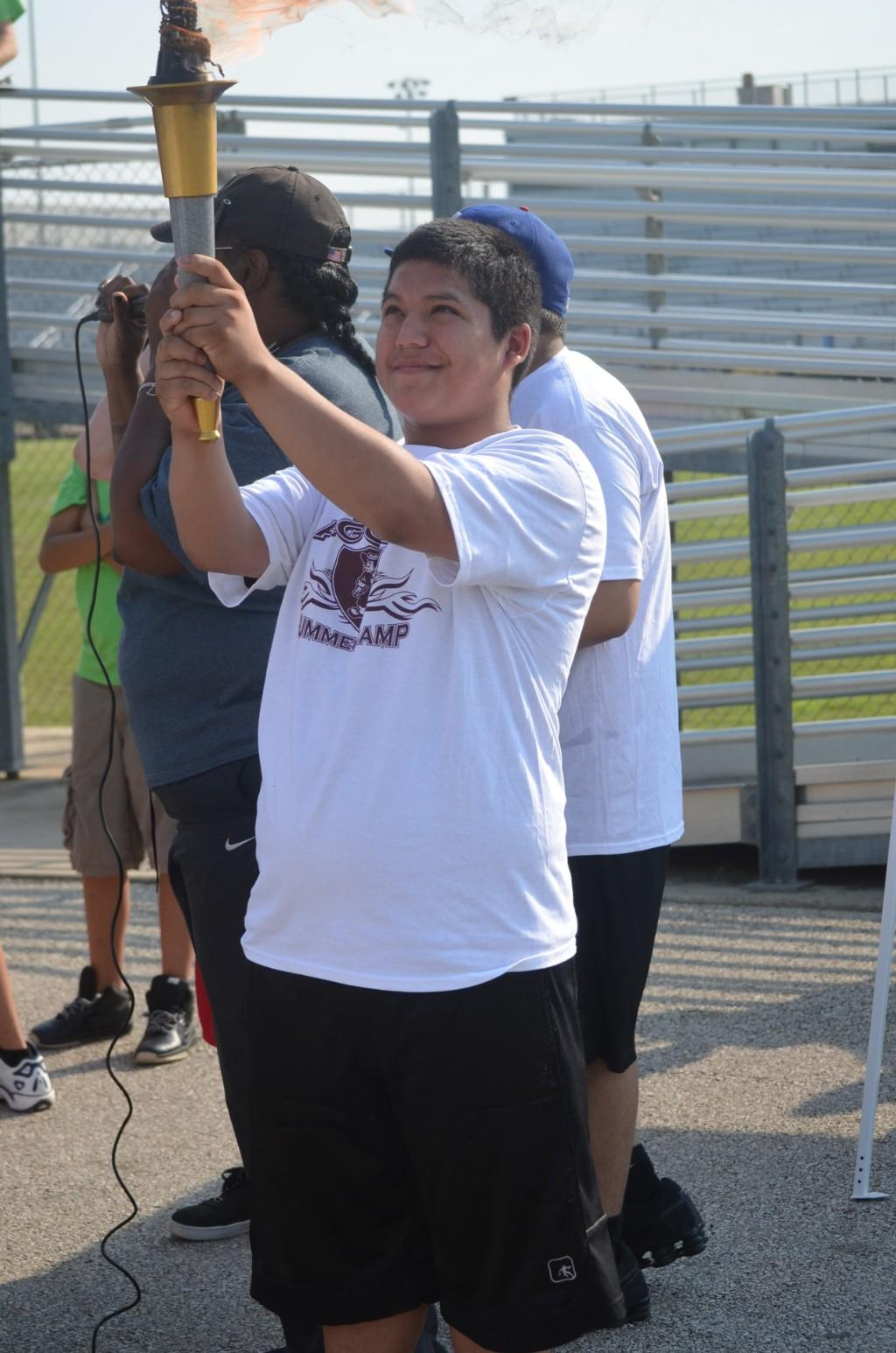 Carrying the Special Olympics torch