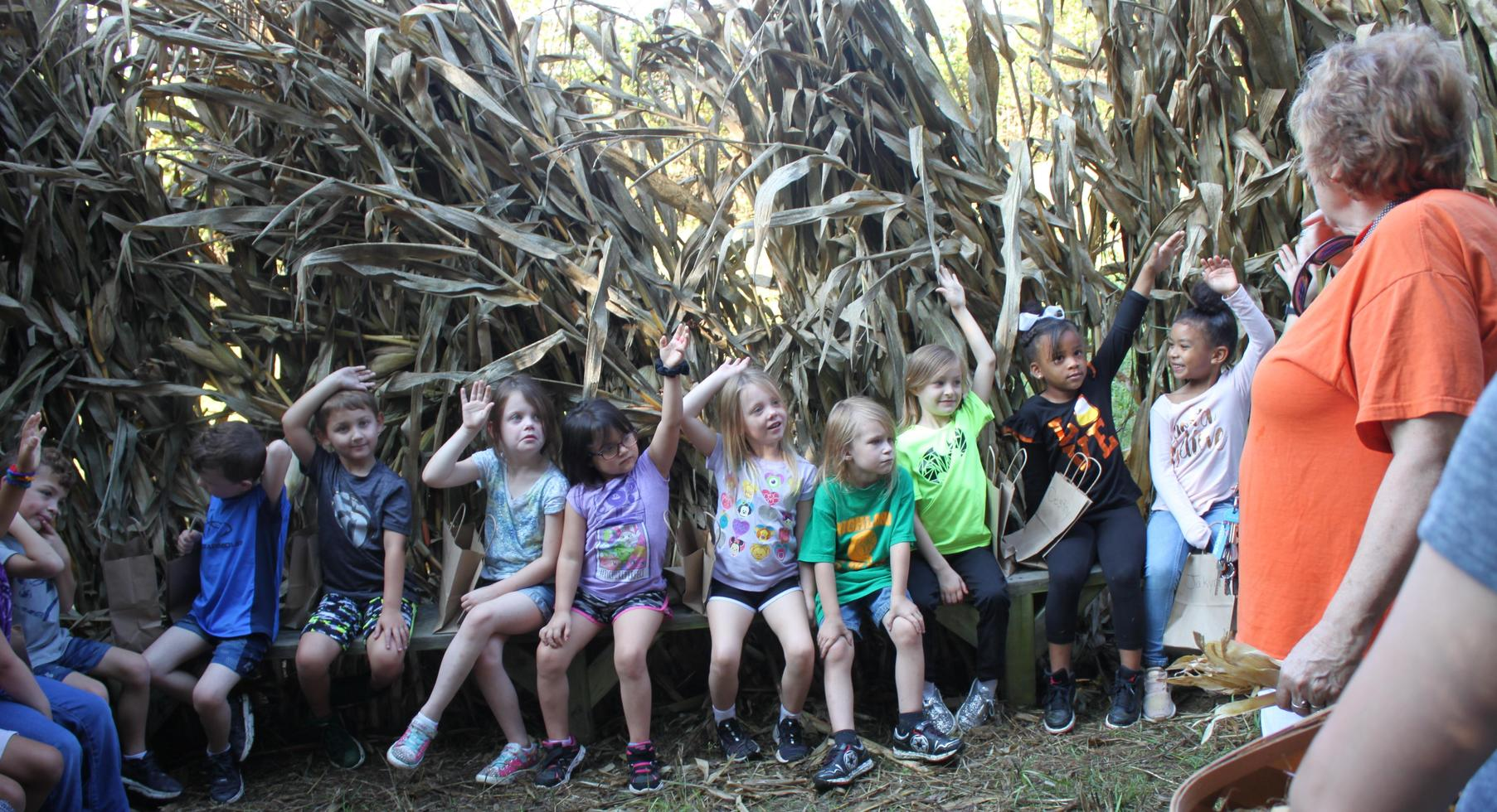 Kindergarten learning about indian corn at Myer's Pumpkin Patch.