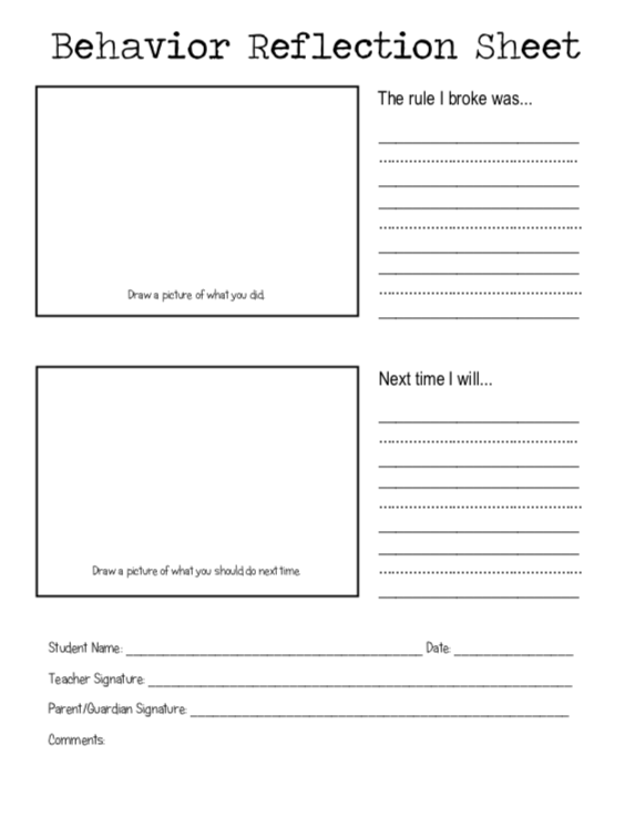 BEHAVIOR FLECTION SHEET