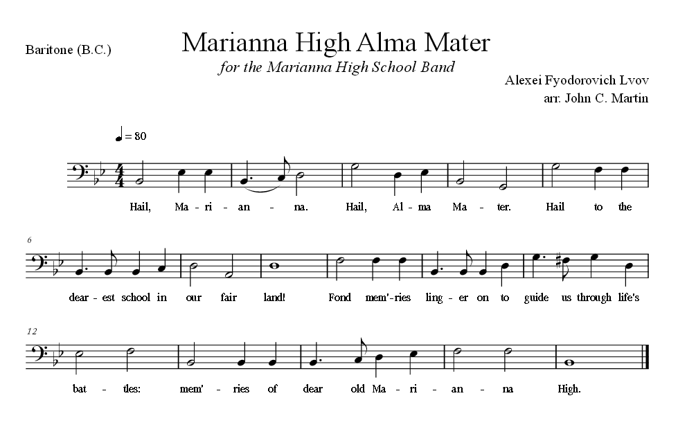 Sheet Music for Alma Mater for the Baritone
