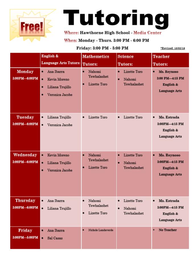 Tutoring Schedule 19.20