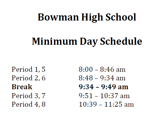 Minimum Day Schedule