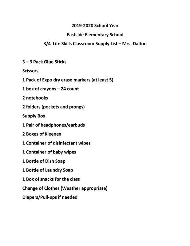 Supply List for Mrs. Dalton's Life Skills Classroom Thumbnail Image