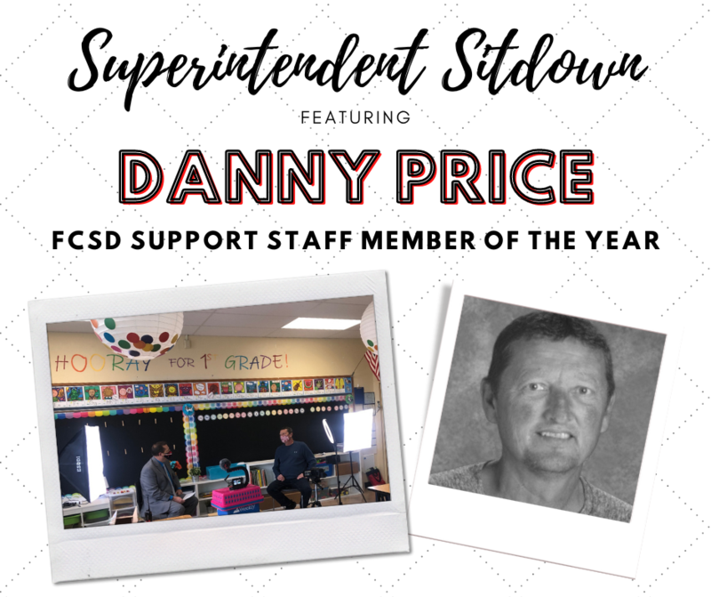 Superintendent Sitdown Featuring Support Staff Member of the Year Danny Price. Photo shows Billy Smith and Danny Price in a classroom at West Elementary. There are bright colors and a video shoot setup.
