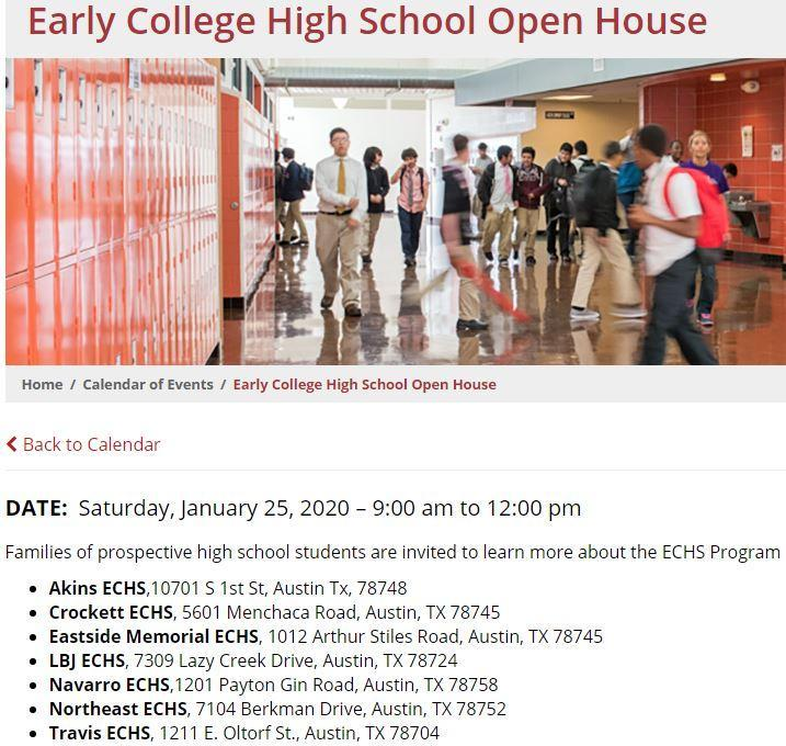 ECHS Open House Featured Photo