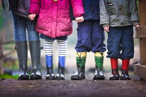 kids wearing rain boots