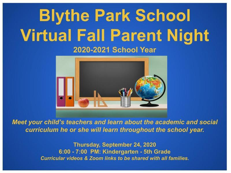 Blythe Park Fall Parent Information Night Featured Photo
