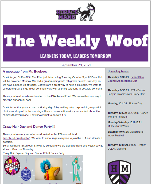The Weekly Woof Newsletter for September 29, 2021
